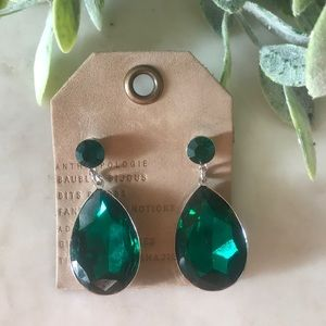Anthropologie- Emerald City Dangle Earrings